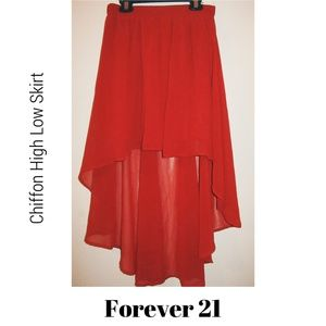 RED CHIFFON HIGH LOW SKIRT • FOREVER 21